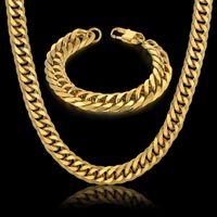 Hip Hop catena di stile di 14MM cubana insieme collana braccialetto per gli uomini regalo del commercio all'ingrosso africano Dubai Gold in acciaio inox I monili