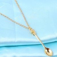 Kolye Kolye Kral Kraliçe Taç Mini Kaşık Altın Kaplama Kolye Kadın Elbise Marka Takı 373120 Hediye için Fit Trendy