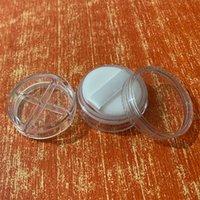 Contenedor de polvo de maquillaje vacío con hojaldre 4 Gridos Polvo de cara suelta Caja compacta Plastic Tarras de cosméticos Contenedores de viaje Recargable