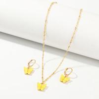 Mariposa collares y pendientes establecidas para el collar de oro rosa de la moda Mujer Niñas Gargantilla elegante joyería de moda