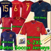 İspanya Retro Futbol Formaları 1994 2002 10 Vintage Klasik A.iniesta Torres Raul Formalar Xavi David Villa Camisa de Futebol Gömlek Uzun Seelves