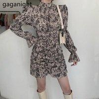 Gaganight Vintage Frauen Gerafft Blumen Minikleid Langarm Chic Koreanische Dame Slim Kleider Frühling Herbst Mode Vestidos 20201
