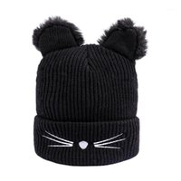 가을 겨울 귀여운 고양이 귀 니트 풀오버 모자 남자 패션 따뜻한 양모 캡 1