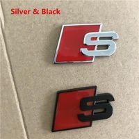 Fashional Metal S Sline Amblem Rozeti Araba Sticker Kırmızı Siyah Ön Arka Önyükleme Kapı Yan Audi A4L A6L Quattro TT S3 SQ5 S6 S8 S Serisi