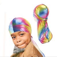 Kids Holográfico Laser Durag Premium Silky Satin Doo Rag Wave Cap Designers Pirate Hat Party Beach Caps Head Wrap Visor Gifts GG12207