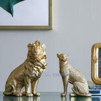 Creativo Nordic Gold Resina Simulato Animal Artigianato Ornamenti Elephant Lion Decorazioni per la casa moderna Accessori Accessori Figurine LJ200904