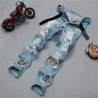 Uomini jeans strappato biker buco denim robin patch harem dritto punk rock ricamo jeans per uomo pantaloni1