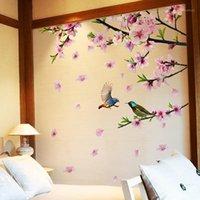 [Shijuehezi] Дерево Филиал Цветочные птицы Наклейки на стену DIY Персик Blossom Наклейки на стену Для Дома Гостиная Спальня Украшения1