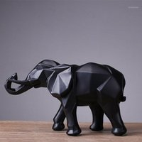 Objetos decorativos Figurines Asfull Abstract Gold Elephant Statue Resina Ornaments Casa Decoração Acessórios Presente Geométrico Sculpture1