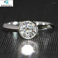 DOVEGGS 14K 585 Gold blanco 1CT 6.5MM F Color redondo brillante Moissanite Diamond Ingagemen Anillos para mujer Banda de boda1