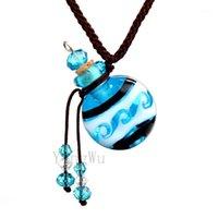 Yingwu rond bleu murano verre huiles cendres urn bouteille de bouteille de liège pendentif collier de flacon réglable1