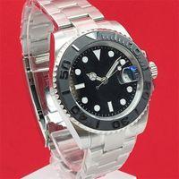 새로운 40mm 남성용 블랙 다이얼 다이빙 시계 강철 벨트 자동 시계 사파이어 크리스탈 회색 세라믹 링 상감 슬라이딩 잠금 장치