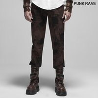 Botón de ajuste de metal de impresión de Steampunk Mid-Low Cintura Pantalones rectos Punk Vendaje Muescido Rayas Menores Pantalones Punk Rave WK-4161