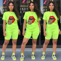 Wjustforu 5 Color Print Two Piece Set Women Pullover Crop Top + Biker Shorts Casual Skinny Matching Sets Bodycon Tracksuit 201012