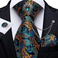 Yay Ties Teal Yeşil Altın Paisley erkek Kravat Seti Iş Kravat Mendil Kol Düğmeleri 8 cm Genişlik 150 cm Düğün Damlası Dibangu1