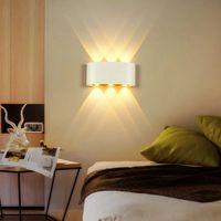 Lumière Up and Down Light Indoor 2W 4W 6W 8W LED Appliques murales AC100V 220V Aluminium Décorer de mur Chambre à la chambre à coucher de la chambre à coucher LED