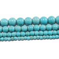 1Strand Lotto creato perline 4 6 8 10 12 mm liscio naturale turchese verde turchese rotondo perlina distanziata per gioielli per fare fai da te h jllvcu