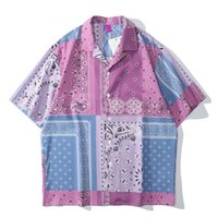 Dunkle icon rosa bandana polos shirt männer sommer abzugskragen hawaiian shirts männer männlich top