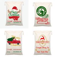 Santa Sack 2020 Noel Süsler Şeker Çanta Dekorasyon Hediyelik Posta Bauble Harf Tuval Çanta Karikatür Çizgili 10 9BY F2