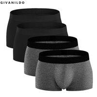 Givanildo 4PC / Lot Hommes Boxers Shorts pour hommes Sous-vêtements 95% Coton Soft Bokser Big Mens Boxer Boxer Ondergoed Roupa Ropa Intérieur Y824 Y200415