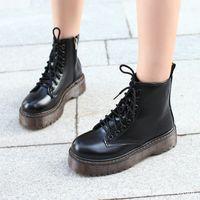 Lucyever Womens Outono Inverno Inverno Botas Lace Up Lisa Heels Algodão Algodão Plataforma Plataforma Sapatos Mulher Couro Militar Botas Mujer