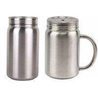17oz 스테인레스 스틸 커피 머그잔 단열 메이슨 항아리 컵 휴대용 방진 텀블러 금속 뚜껑 짚 바다 배송 W72