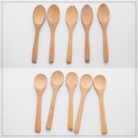 Mini madeira redonda colher de bambu sopa chá café sal restar mesa de cozinha ferramenta diy cozinha cozinhar utensílio