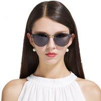 새로운 편광 선글라스 여성 브랜드 디자이너 클럽 라운드 클래식 태양 안경 남성 운전 반 무테 안경