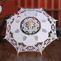 Beyaz saf beyaz dantel şemsiye işlemeli pamuklu Avrupa düğün fotoğrafçılığı sahne şemsiye 48ny M2