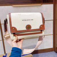 Handtaschen ein Schulter-Kurier-Beutel-Klappen-Taschen Fashion Canvas Leinen mit Kuhfell Letter Normal Haspe Breite Schulterriemen Freies Verschiffen