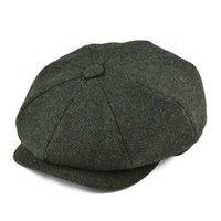 SBOY Hüte Botvela Wolle Tweed Cap Heringbone Männer Frauen Klassische Retro Hut mit weichem Futtertreiber Schwarz Braun Grün 005