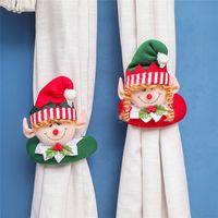 Christmas Tenda Fibbia Tieback Santa Snowman Histerback Fermata Fibbia Decorazioni per morsetto Ornamenti natalizi 200pcs T1I3304