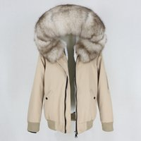 OFTBUY New Women Waterproof Bomber Parka Real Fur Coat Winter Jacket Women Natural Fox Fur Collar Hood Warm Thick Outerwear 201026