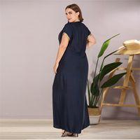 Сискакия плюс размер вышитые бисером длинные платья темно-синий старинные повседневные Maxi платья лето 2020 свободно V шеи с коротким рукавом New Y200805