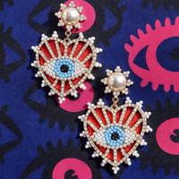 HELLODR INS Moda Kristal Evil Göz Küpe Kadınlar Için Bohemian Geometrik Büyük Kalp Bırak Küpe El Yapımı Boncuklu Hediye