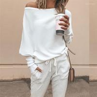 Pullover Mode lose Slash Neck Langarm Solid Color Pullover der neuen Ankunfts-Frauen-Strickjacke-Frauen-Entwerfer