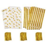 100 pcs / set Twist Ferro 24.8x14.9cm Presente de Plástico Pandahall de plástico com fio de doces laços de casamento sacos de festa sacos de plástico DQAJA