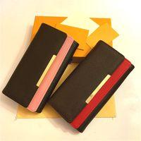 مجانا shpping الجملة القيعان الأحمر سيدة طويل محفظة متعدد الألوان مصمم عملة محفظة بطاقة حامل المربع الأصلي المرأة الكلاسيكية سستة الجيب