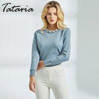 Tataria Langarm-Pullover für Frauen Perle wulstige Strickjacke-Überbrücker Frauen Pullover mit Perlen Stricken Weibliche feste dünne Strickjacke 201008