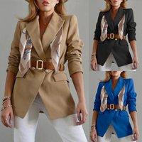 Mulher casual ternos com cinto feminino blazer primavera jaquetas de outono casaco escritório senhora uniforme uniforme outerwear trabalho vestuário roupas