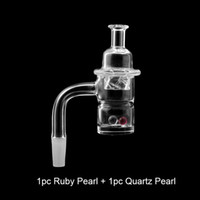 Splash Guard Beveled Edge Quartz Banger With Quartz Spinning Cap & Terp Pearls 10mm 14mm 18mm Male Female Quartz Nails For Glass Bongs Rigs
