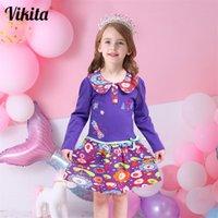 Vikita marca 2- vestido para meninas meninas de manga comprida roupas tutu festa flor menina vestidos crianças crianças vestidos florais misturar lj200923