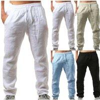 Verano de algodón para hombres Pantalones Linho Verao Calcas dos Homens Com Cordao sueltan los pantalones de los hombres de lino Sólidos Harem pantalones pantalones