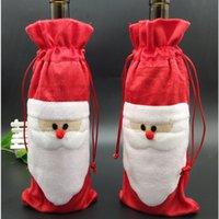 Santa Claus Gift Bags Decorações de Natal Garrafa de Vinho Vermelho Sacos Xmas Santa Champanhe Saco de Vinho Xmas Presente 31 * 13cm YHM58