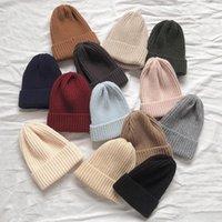 Bere / Kafatası Kapaklar Helisopus Kış Kore Bere Kap Şeker Renk Rahat Hip Hop Şapka Akrilik Sıcak Elastik Örgü Şapkalar Kadınlar için