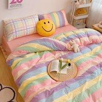Kawaii Moda arco-íris conjunto de cama 100% algodão Plano lençol e fronhas de luxo coreano estilo princesa rainha completa Conjuntos de cama