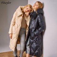 Mulheres para baixo parkas fitaylor inverno zíper jaqueta de lapela de lapela mulheres longo casaco 90% pato manter a cintura quente tie-wraps outwear1