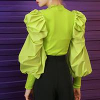 Nueva suéteres cuello de O soplo de la manga acanalada Streetwear Mujer suéter de la manera del otoño de TWOTWINSTYLE remiendo de tejer Mujeres 201022