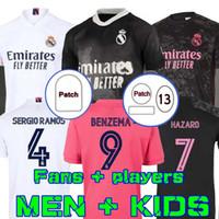 팬 플레이어 2020 레알 마드리드 유니폼 위험 벤제마 축구 세르지오 Ramos Modric 20 21 축구 셔츠 남자 키즈 Camisetas Benzema Rodrgo HRFC