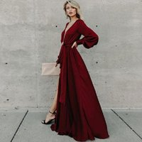 Evening dress autumn fall 2019 new foreign trade dress long-sleeved v-neck a fork ruffled lace dress